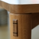 Wedged through tenon on dining table leg.