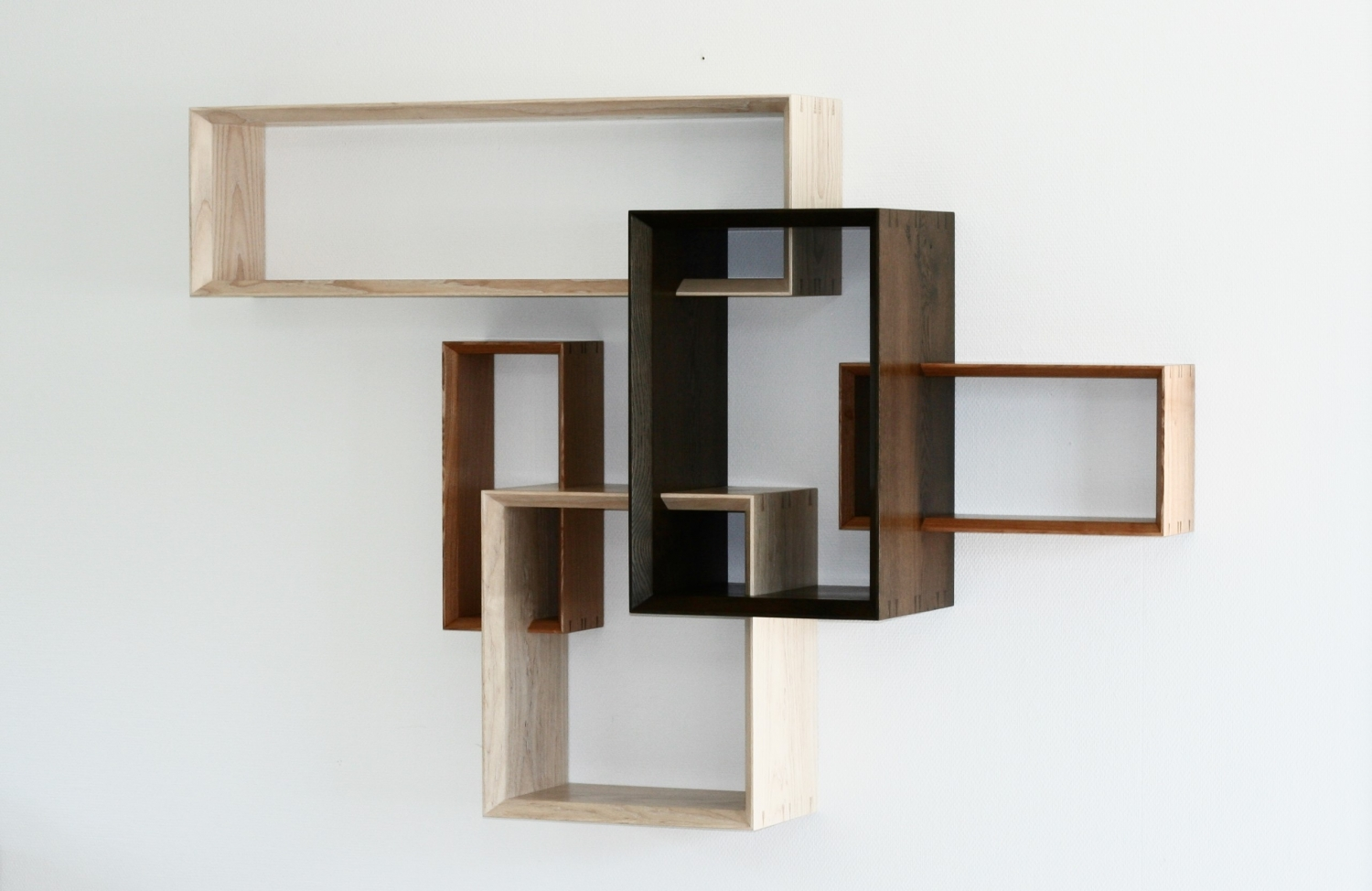 Dovecote shelf in olive ash, white ash and fumed oak