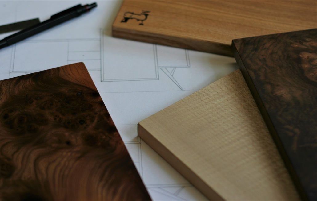 Wood samples and drawings